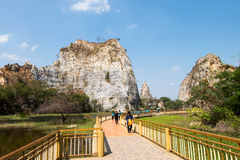 Walkpath or corridors at Khao-Ngu mountain park, new tourist attraction. Royalty Free Stock Images