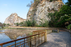 Walkpath or corridors at Khao-Ngu mountain park. New tourist attraction of Ratchaburi province Stock Photography