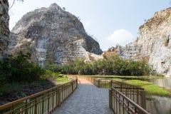 Walkpath or corridors at Khao-Ngu mountain park. In Ratchaburi province, Thailand Royalty Free Stock Image
