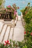 Walkpath through a flourishing seaside garden Stock Photo