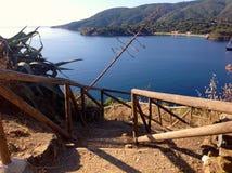 Walkpath in Porto Azzurro,  Italy. Hiking in tuscan archipelago, scenic view of walkpath in Porto Azzurro, Elba island, Italy Stock Photography