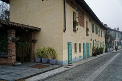 Walkpath on a street in Italy city Old town exterior.  Stock Image