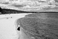 Walks On The Beach. Polish Baltic coast, Gdansk, Poland Royalty Free Stock Image