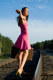 Walks by rail Royalty Free Stock Photo