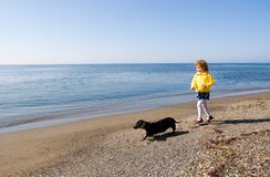 Walks at the sea. The little girl walks at the sea with a dog Royalty Free Stock Images