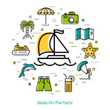 Walks On The Yacht - round line concept Royalty Free Stock Photo