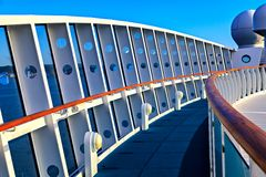 Walkup on the top deck of a cruise ship. Details of the upper deck of a cruise ship Stock Image