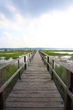 Walkway. Path to the edge of the bay under a big sky Stock Images
