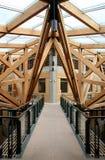 Walkway. Footbridge in modern wooden constructed atrium Stock Image