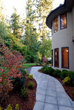 Walkway. Exterior of an American Luxury Wooden House Royalty Free Stock Photo