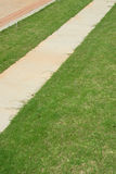 Walkway. A pathway among green lawns Stock Images