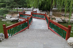 Walkway across the river in Old traditional park in Beijing,  China Royalty Free Stock Photo