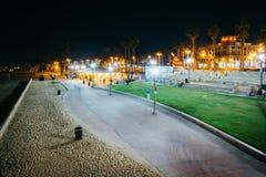 Walkway along the beach at night, in Huntington Beach  Royalty Free Stock Image