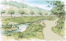 Walkway along the creek. Landscape vector illustration