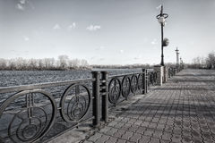 Walkway along the Dnieper River in the Obolon district of Kiev, Ukraine Stock Images