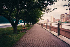 Walkway along the East River on Roosevelt Island, New York. Royalty Free Stock Images