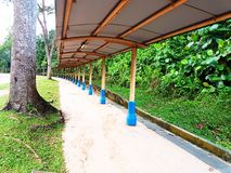 Walkway along the road. Beautiful scenery of a walkway along the road Stock Image