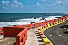 Walkway along the rocky Oceanfront royalty free stock photography