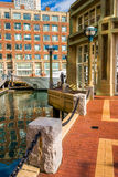 Walkway along the water at Rowe's Wharf in Boston, Massachusetts Stock Image