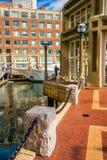 Walkway along the water at Rowe's Wharf in Boston, Massachusetts Stock Image