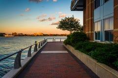 Walkway along the waterfront at Battery Wharf, in Boston, Massac Stock Image