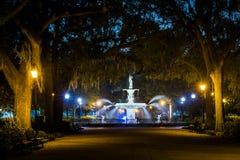 Free Walkway And Fountain At Night, At Forsyth Park, In Savannah, Georgia Royalty Free Stock Image - 147484406