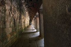 Walkway in Angkor Wat Temple. stock images