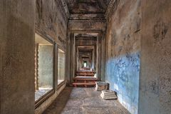 Walkway in Angkor Wat Temple Royalty Free Stock Images