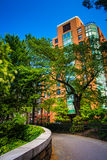 Walkway and apartment building in Brooklyn Heights, New York. Royalty Free Stock Photo