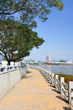 Walkway around Jiangxin Island, view on real estate, Wenzhou, Zhejiang Province, China Royalty Free Stock Images