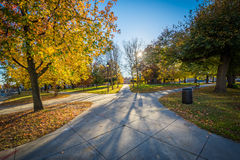 Walkway and autumn color at Franklin Square Park, in Baltimore,. Maryland stock images