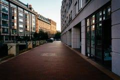 Walkway at Battery Wharf, in Boston, Massachusetts. Stock Photography