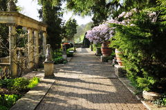 Walkway in a Beautiful Landscape Garden Stock Photos