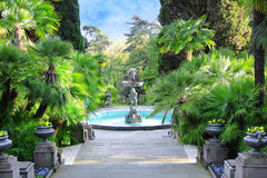 Walkway in a beautiful Park with Palms stock images