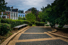 Walkway and bench at Meridian Hill Park, in Washington, DC. Stock Photo