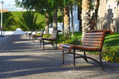 Walkway with benches Stock Photo