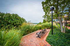 Walkway and benches in Alexandria, Virginia. Stock Images