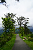 Walkway and benches in Japanese garden on mountaintop with panor Stock Image