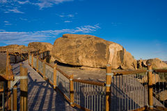 Walkway among boulders Royalty Free Stock Photos