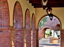 Walkway of Brick Archways Stock Photo