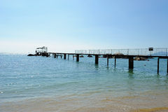 Walkway bridge and sea Royalty Free Stock Image