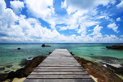 Walkway bridge and sea Royalty Free Stock Images