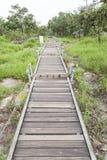 Walkway bridge to mountain Royalty Free Stock Photo
