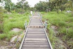 Walkway bridge to mountain Royalty Free Stock Photography