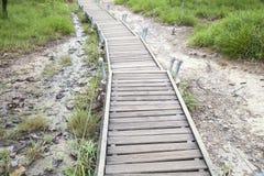 Walkway bridge to mountain Stock Photos