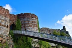 Walkway and bridged entrance into Beeston Castle, off the Sandstone trail, POV 5 Cheshire. Taken to capture all the colours of late spring, along the Sandstone royalty free stock photography
