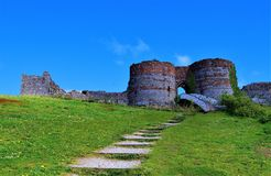 Walkway and bridged entrance into Beeston Castle, off the Sandstone trail, POV 2, Cheshire. Taken to capture all the colours of late spring, along the Sandstone stock images