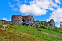 Walkway and bridged entrance into Beeston Castle, off the Sandstone trail, POV 3, Cheshire. Taken to capture all the colours of late spring, along the Sandstone royalty free stock photography