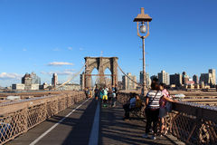 Walkway on the brooklyn bridge in New York City. Royalty Free Stock Image