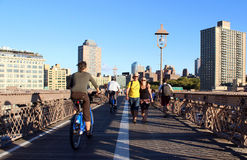 Walkway on the brooklyn bridge in New York City. Royalty Free Stock Images